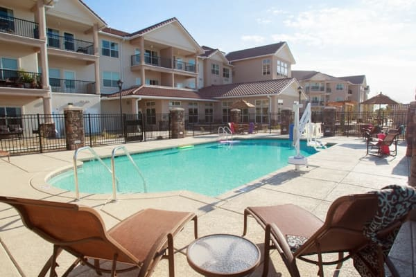 Community pool at Estrella Estates Gracious Retirement Living in Goodyear, Arizona