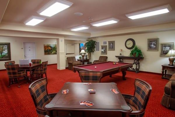 Billiards table in the game room at Estrella Estates Gracious Retirement Living in Goodyear, Arizona
