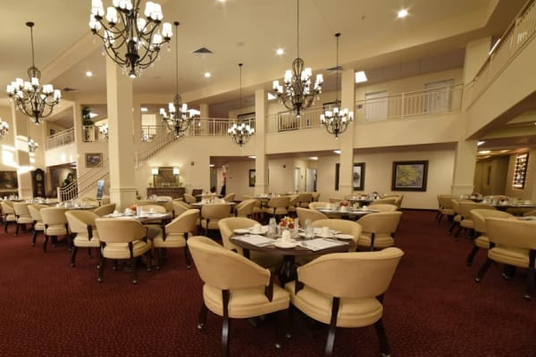 Large dining room at Fairview Estates Gracious Retirement Living in Hopkinton, Massachusetts