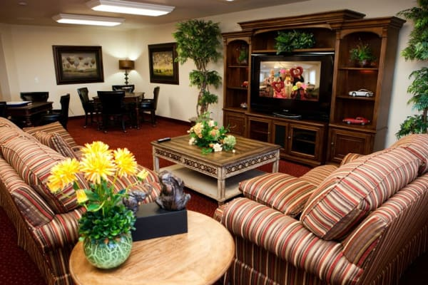 Cozy lounge area for residents at Liberty Heights Gracious Retirement Living in Rockwall, Texas