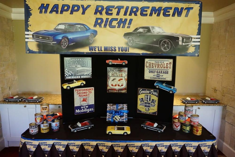 A table of accolades at Discovery Senior Living in Bonita Springs, Florida