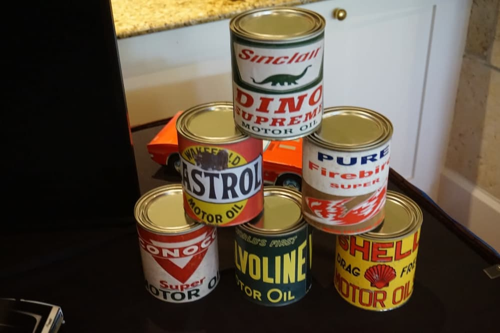 Motor oil cans stacked at Discovery Senior Living in Bonita Springs, Florida
