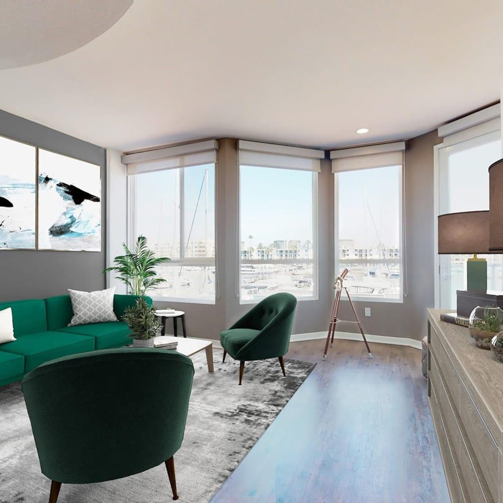Beautiful marina and view from a model two bedroom apartment at Esprit Marina del Rey in Marina del Rey, California