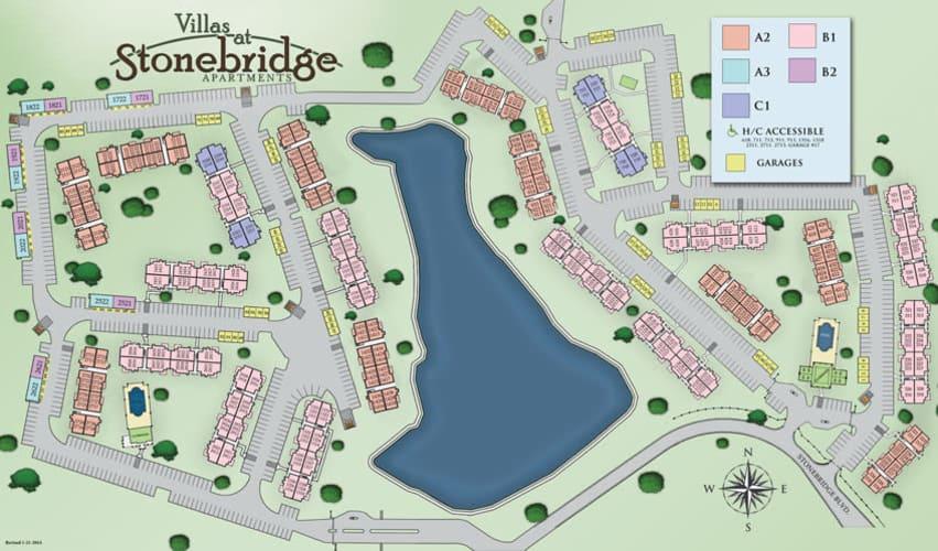 Site map for Villas at Stonebridge in Edmond, Oklahoma