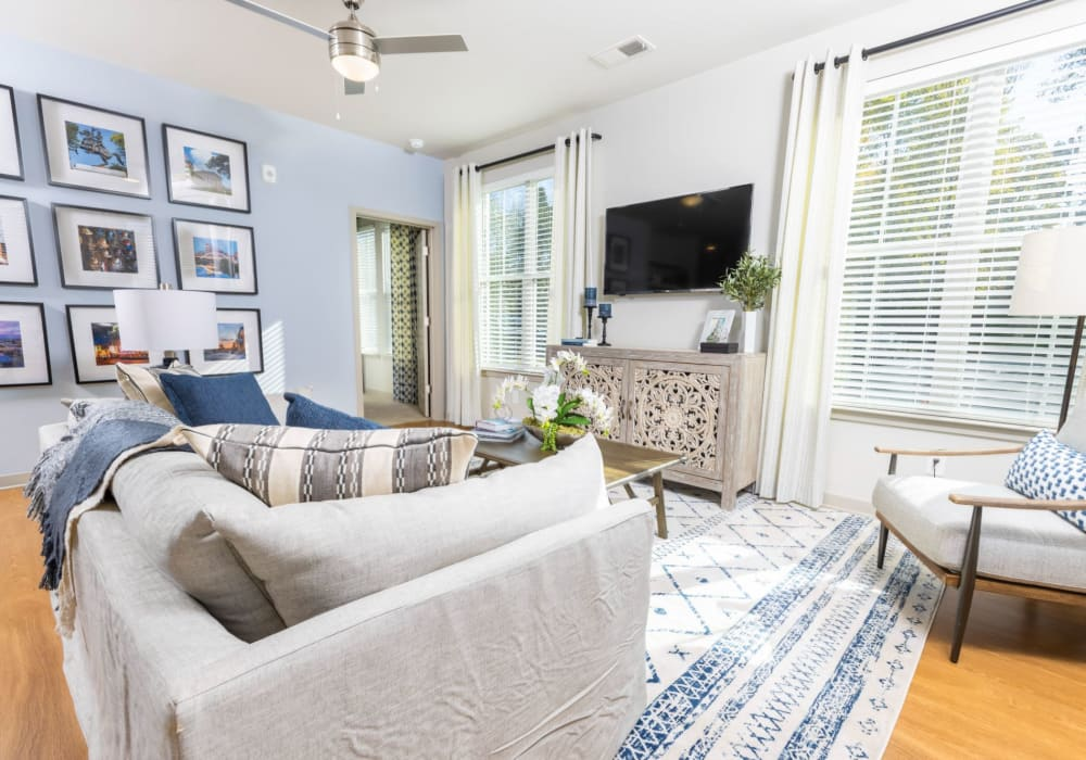 Well-decorated open-concept living room with tons of natural light at Parc at Murfreesboro in Murfreesboro, Tennessee