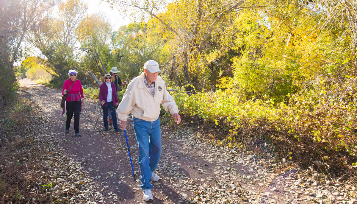 Residents on a hike near Touchmark at Coffee Creek in Edmond, Oklahoma