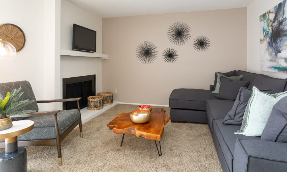 An apartment living room with furniture at Mountain Village in El Paso, Texas