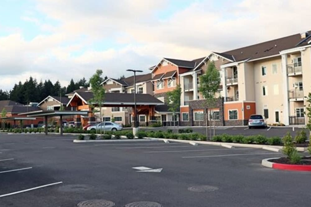 Driveway leading up to upscale senior living facility at The Springs at Sherwood in Sherwood, Oregon