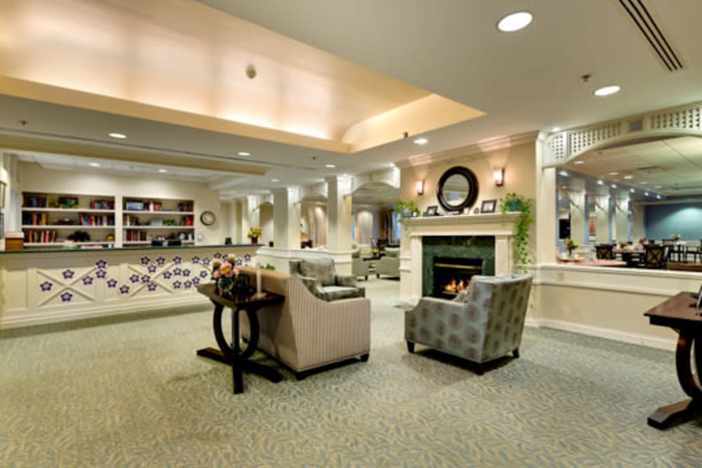 Fireplace lounge at Carriage Court of Kenwood in Cincinnati, Ohio.