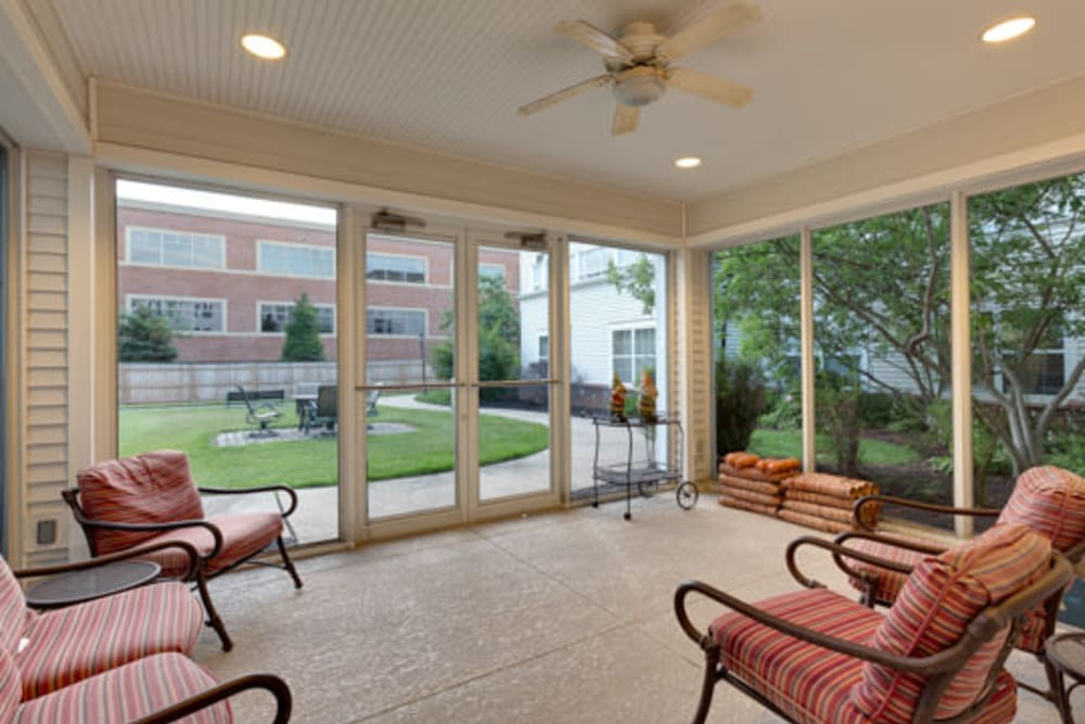 Enclosed comfortable deck area at Carriage Court of Kenwood in Cincinnati, Ohio.