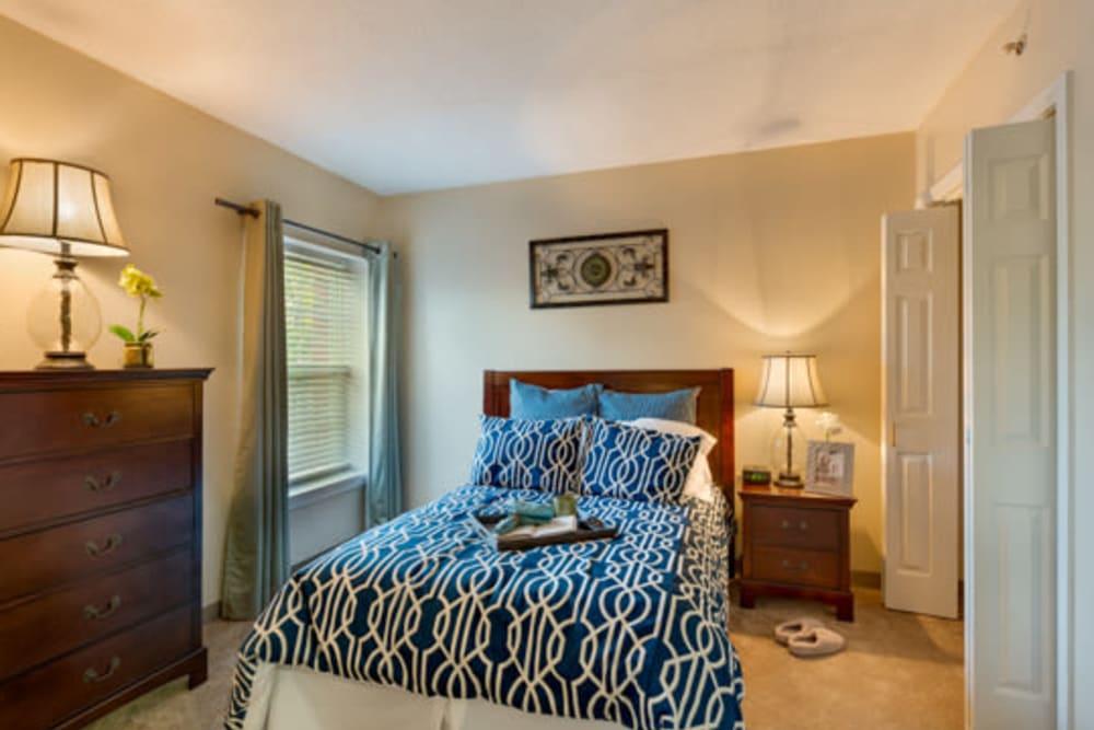 Bedroom in senior living apartment at Carriage Court of Kenwood in Cincinnati, Ohio
