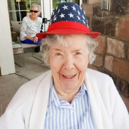 Resident smiling The Oxford Grand Assisted Living & Memory Care in Wichita, Kansas