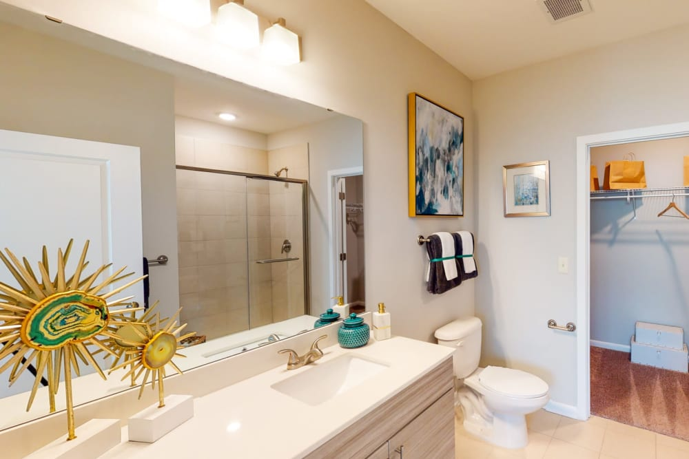 Luxurious bathroom in a model home at The Palmer in Charlotte, North Carolina