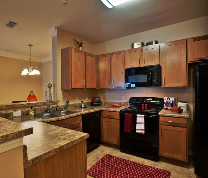 Modern kitchen with black appliances in model home at Richland Falls in Murfreesboro, Tennessee
