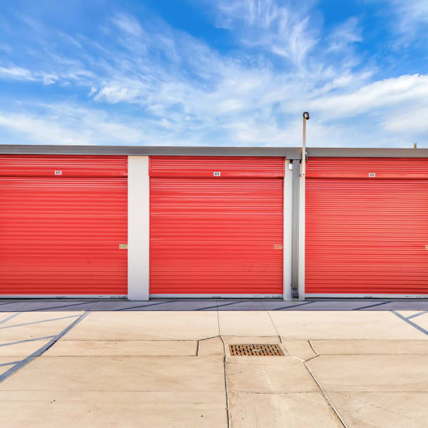 Outdoor units with drive-up access at StorQuest Self Storage in Sacramento, California