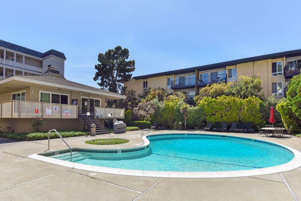 Swimming pool with a large sundeck at Tower Apartment Homes in Alameda, California