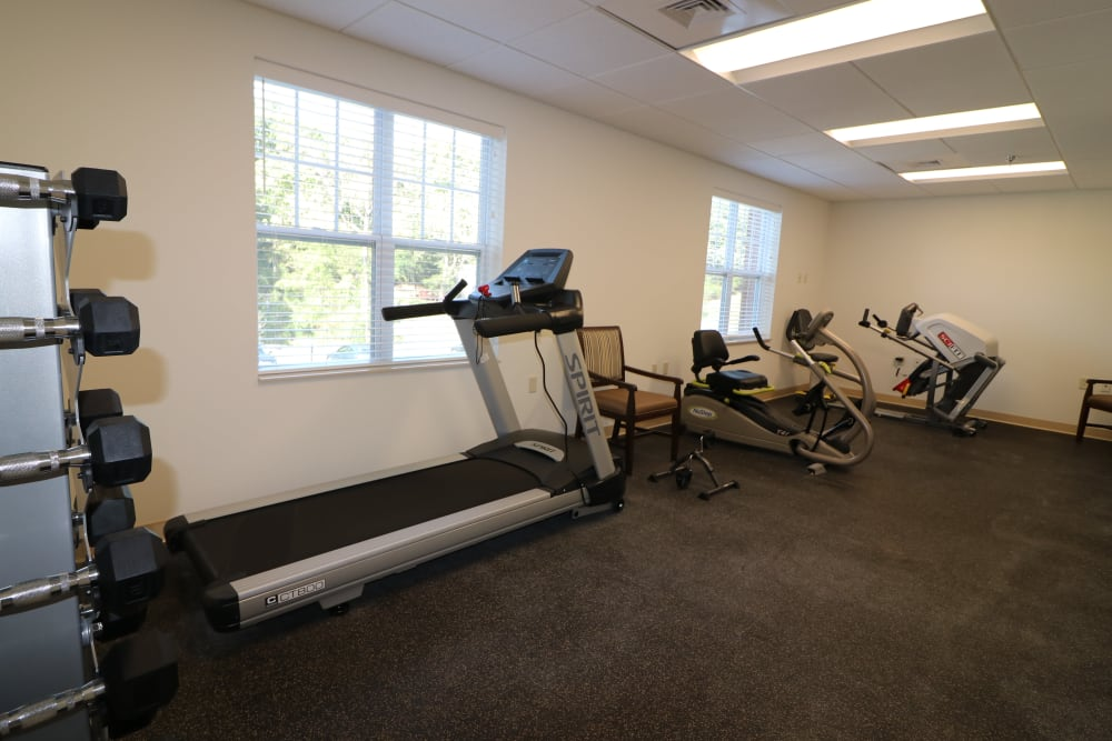 A view of the gym at The Harmony Collection at Roanoke - Assisted Living in Roanoke, Virginia