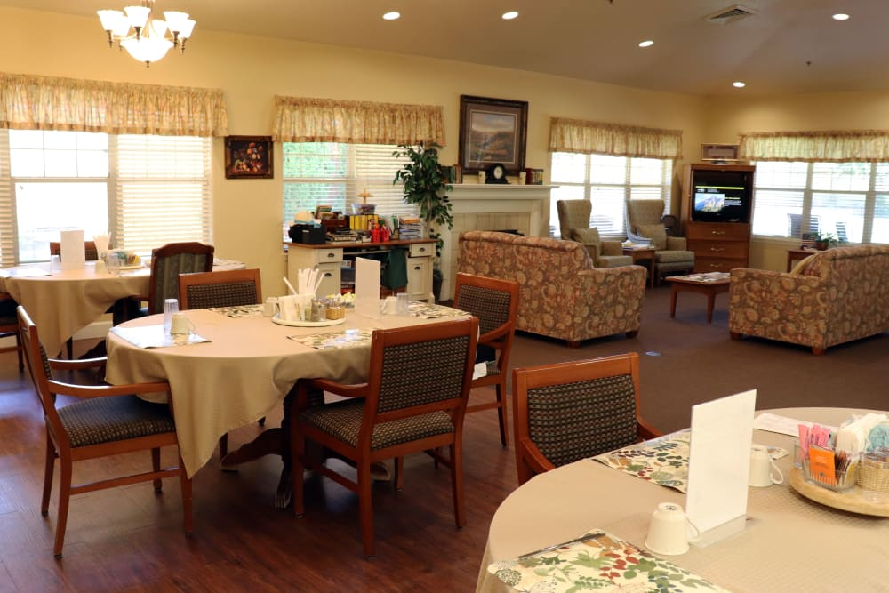 Cheerful dining area with tract lighting and wood accents in upscale senior living facility at The Springs at Willowcreek in Salem, Oregon