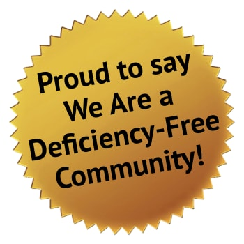Proud to be a deficiency-free community at Kingston Bay Senior Living in Fresno, California