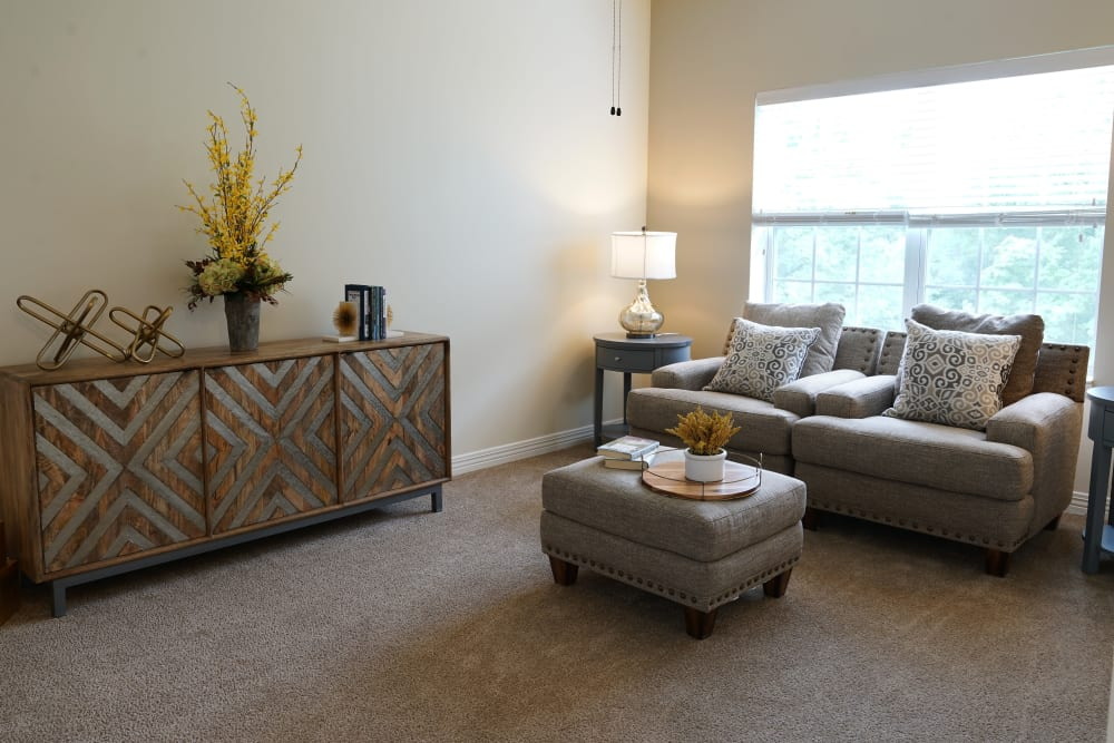 A welcoming apartment living room at Harmony at Morgantown in Morgantown, West Virginia