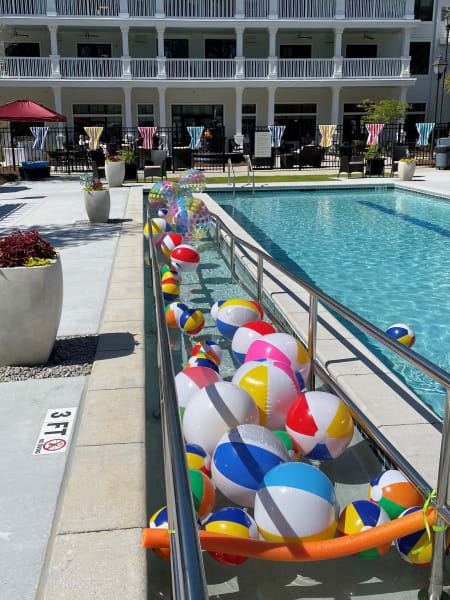 Beach balls fill the brand new pool at Carolina Park in anticipation of the Beach Ball Party.