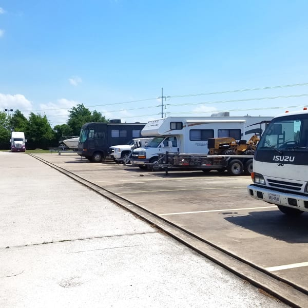 Outdoor RV and auto parking spaces at StorQuest Self Storage in Tucson, Arizona