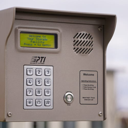 A keypad at the gate of Red Dot Storage in Peoria, Illinois