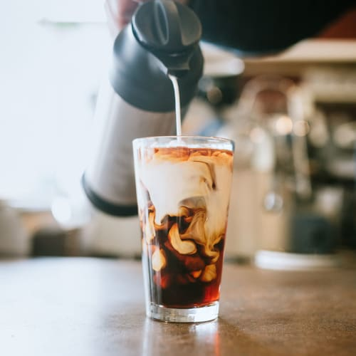 A yummy iced coffee from a local coffee shop near The Columbia at the Waterfront in Vancouver, Washington