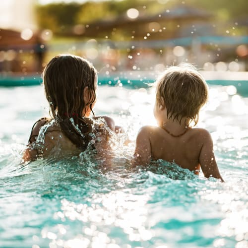 Kids playing in the swimming pool at Hawkins Meadow in Amherst, Massachusetts