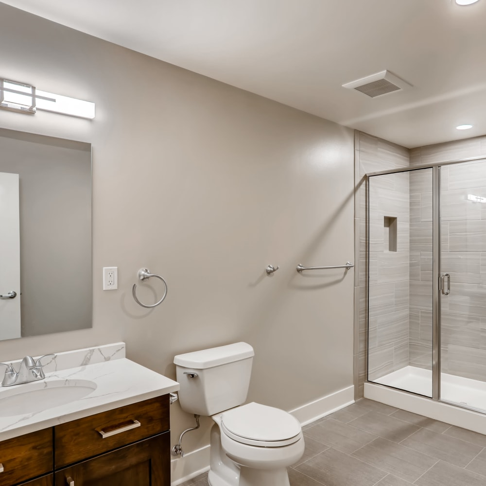 Spacious bathroom at The Mill at First Hill in Seattle, Washington