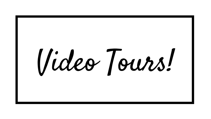 White image with black text saying video tours