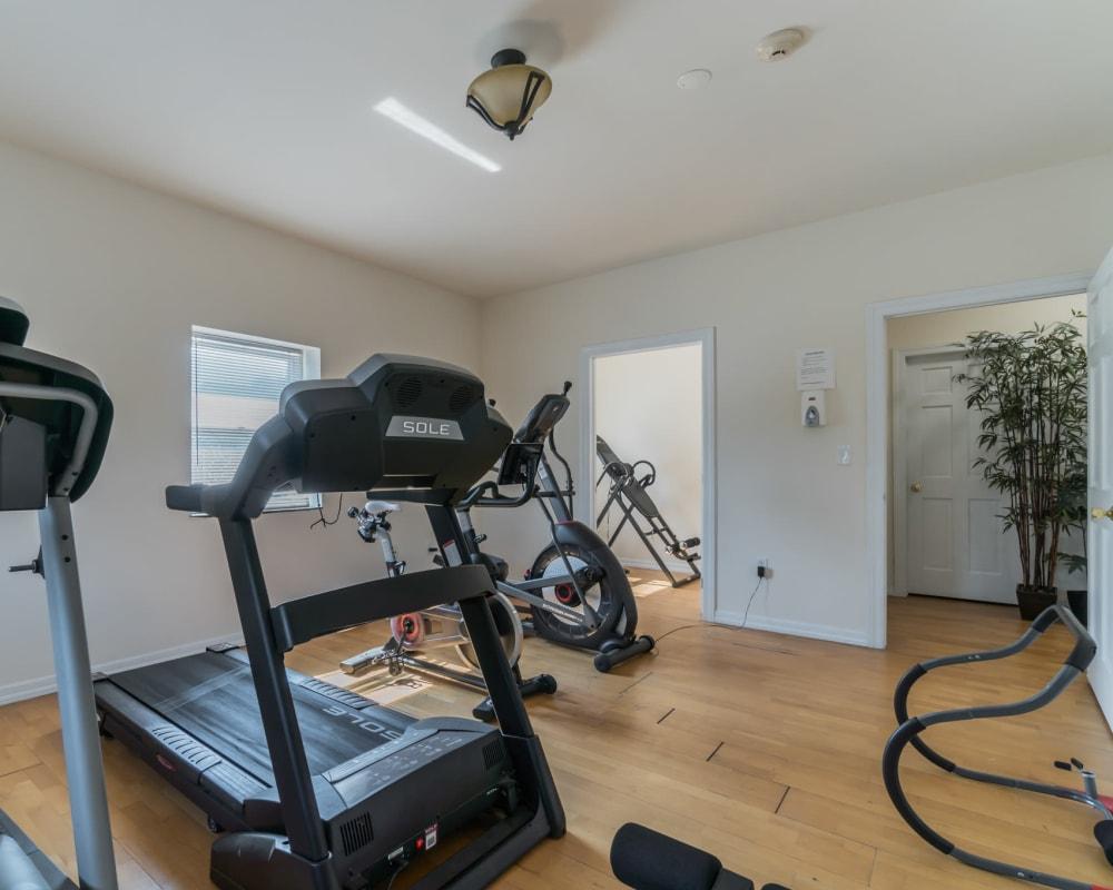 Indoor fitness room at Bunt Commons in Copiague, New York