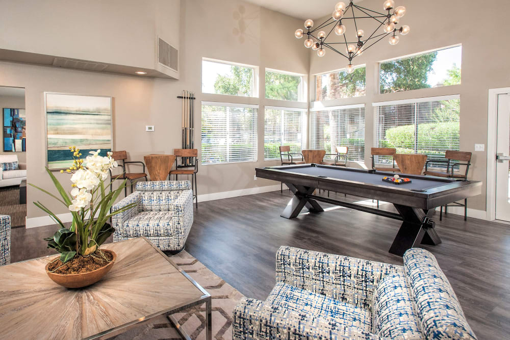 Clubhouse with a billiards table at Shore Park at Riverlake in Sacramento, California