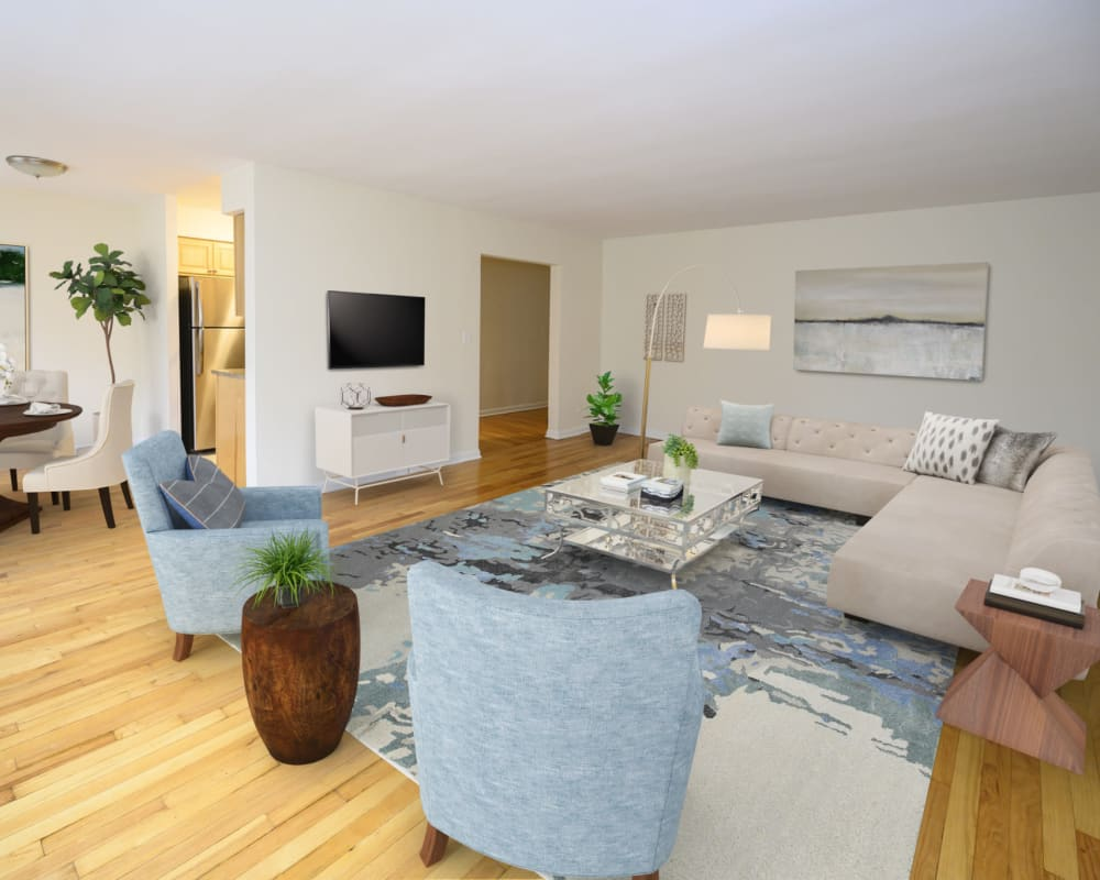Cute furnished living room at Kennedy Apartments in Hackensack, New Jersey