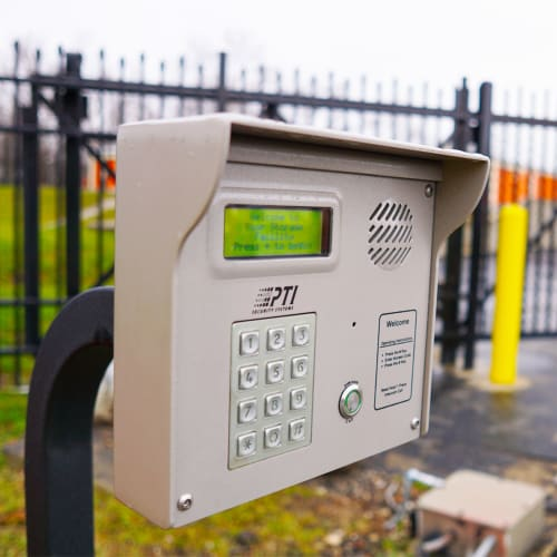 Keypad at the entrance gate of Red Dot Storage in Collinsville, Illinois
