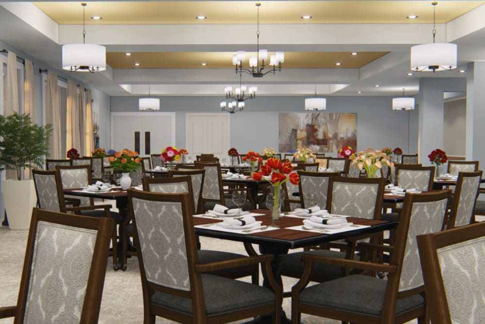 Architectural rendering of dining at Harmony at Kent in Dover, Delaware