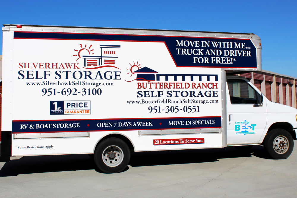 We offer a FREE move-in truck at Butterfield Ranch Self Storage in Temecula, CA.