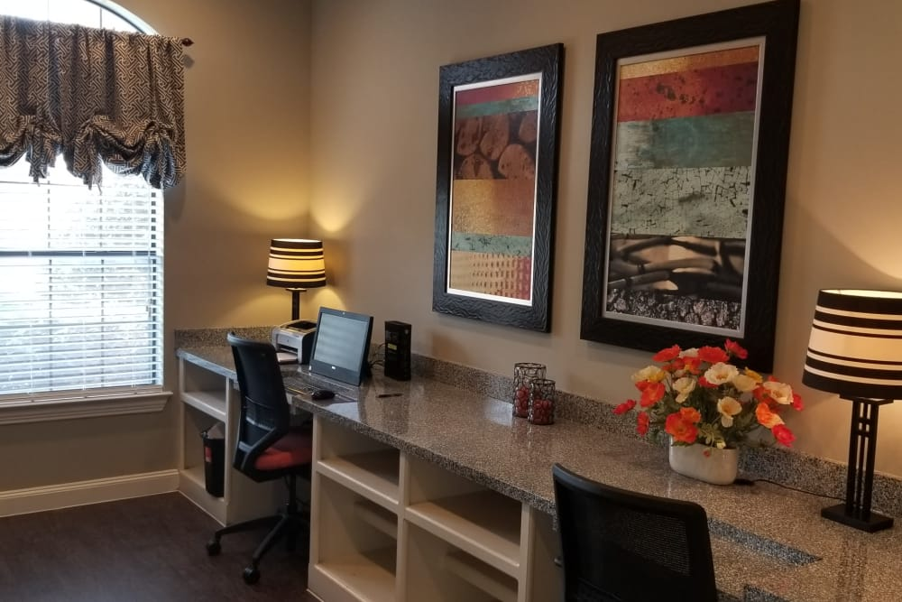 Newly updated business center at The Abbey at Hightower in North Richland Hills, Texas