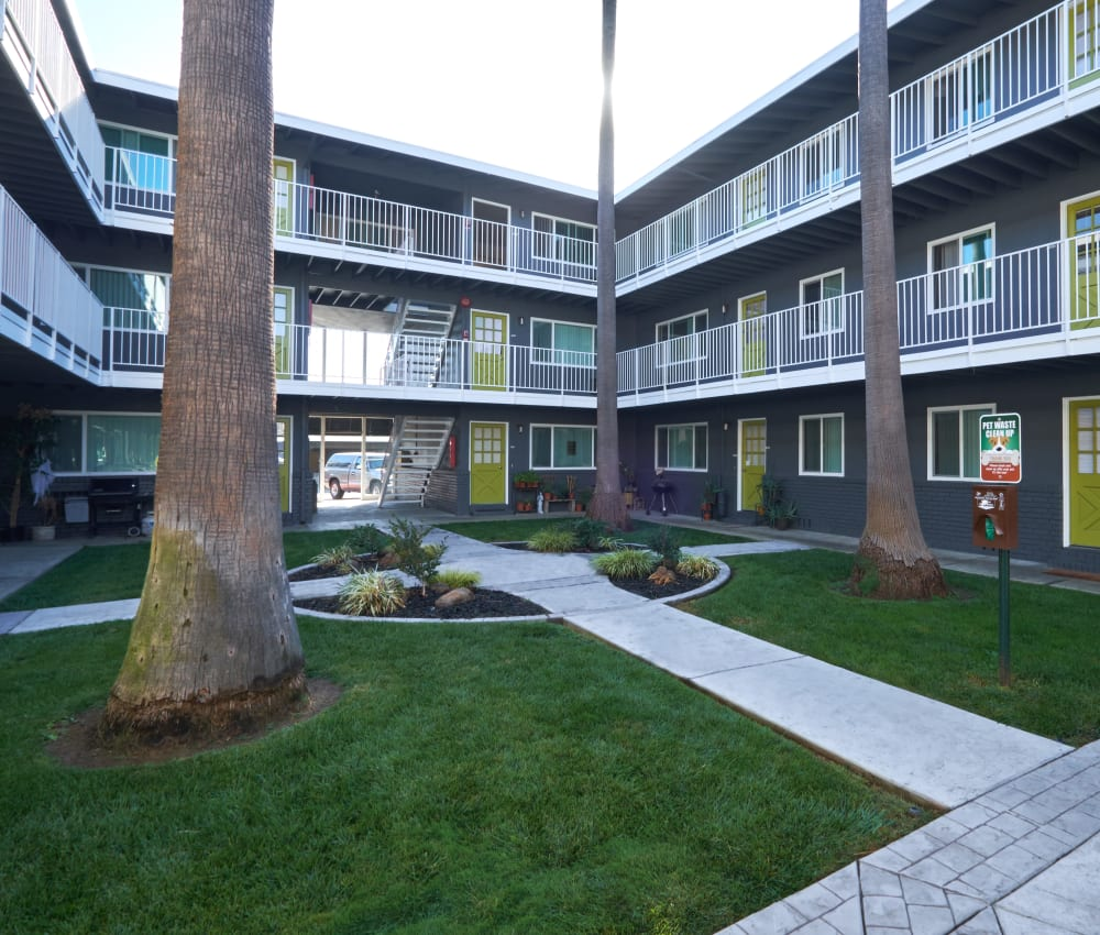 Beautiful gray exterior with a well-manicured landscape at Palms at the Pruneyard in Campbell, California