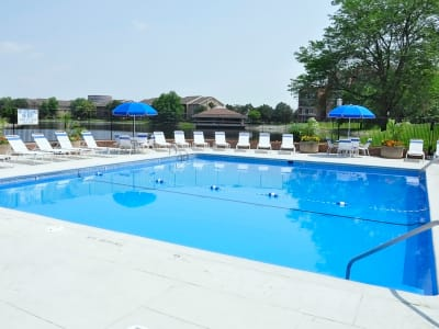 Regency Lakeside Apartment Homes features a pristine swimming pool in Omaha, NE