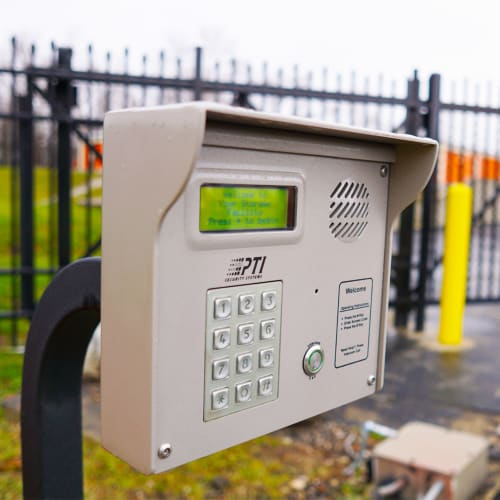 Keypad at entrance gate of Red Dot Storage in Eight Mile, Alabama