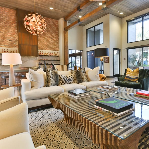 Lavishly decorate resident clubhouse at Avant at Fashion Center in Chandler, Arizona