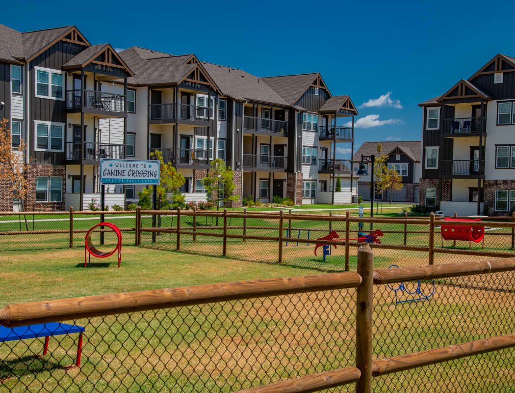 Large onsite bark park at Stonehorse Crossing Apartments in Oklahoma City, Oklahoma