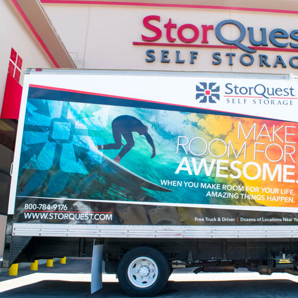 A moving truck at the docking area at StorQuest Self Storage in Brooklyn, New York
