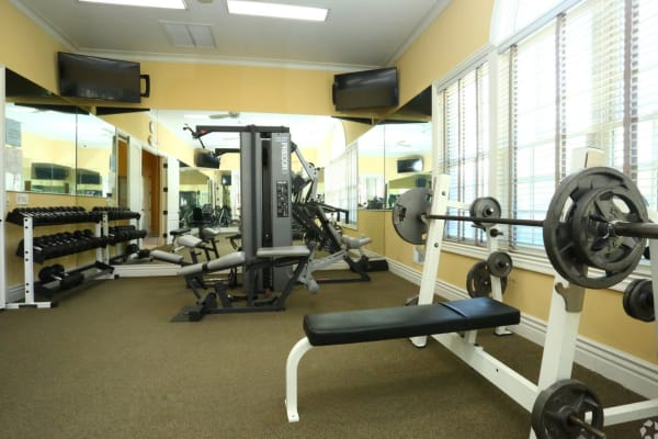 Fitness center in the clubhouse at Legends Rosewood Village in Ypsilanti, Michigan
