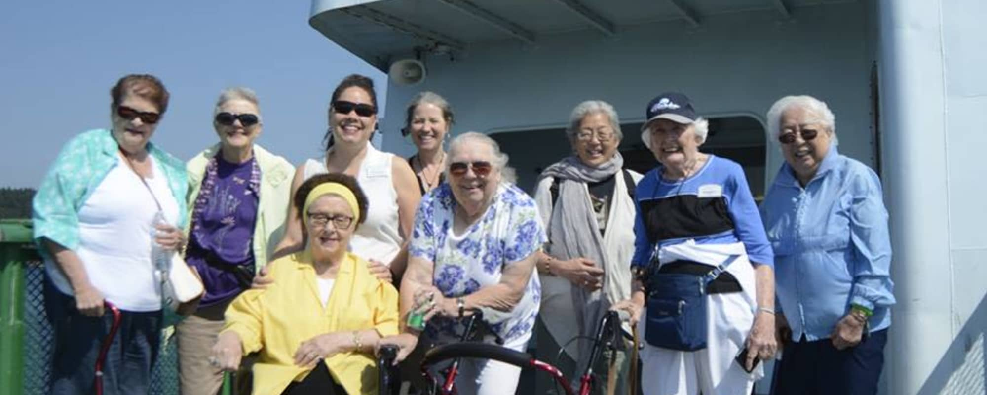Seniors from Northgate Plaza take a ferry ride in Seattle, Washington