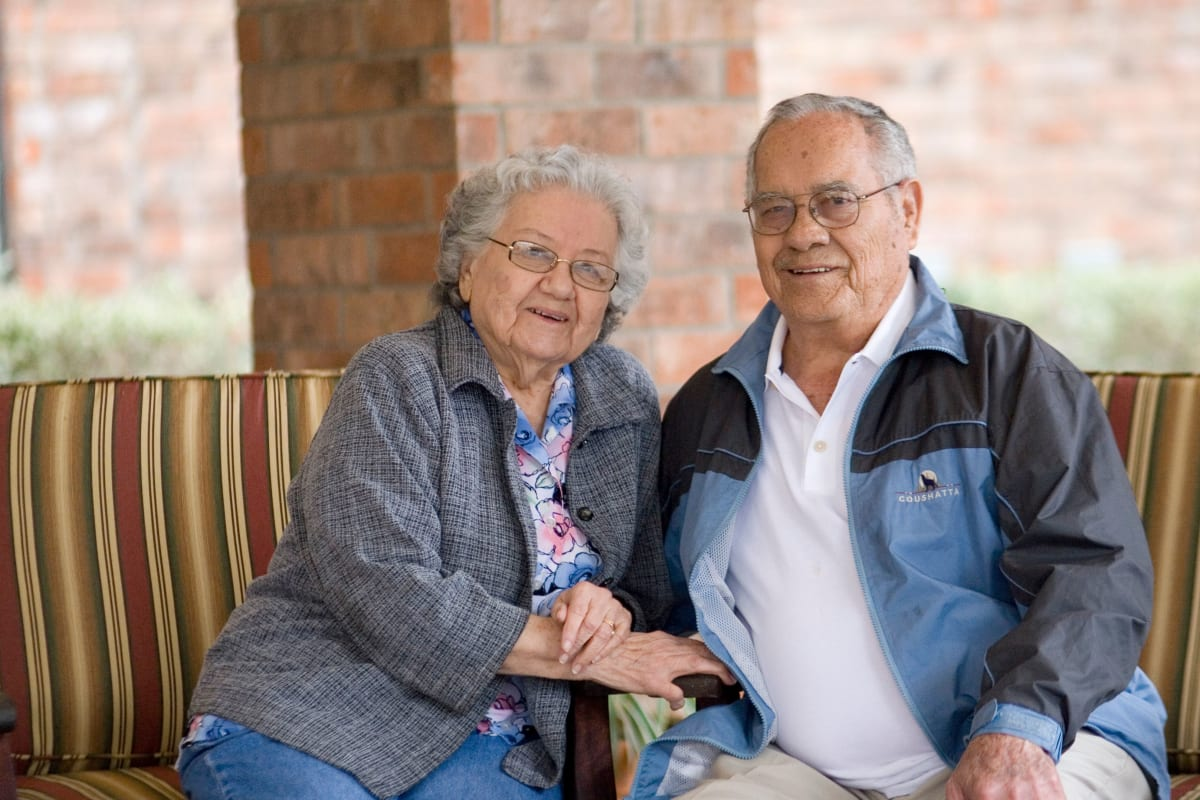 Two residents holding hands at Parsons House Austin in Austin, Texas