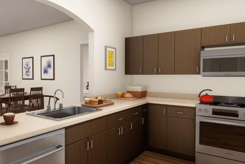Architectural rendering of kitchen at Harmony at Harts Run in Glenshaw, Pennsylvania