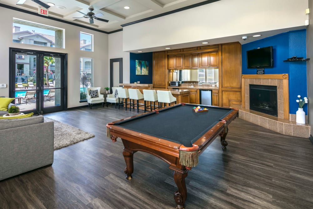 The billiard table in the rec room at Miramonte and Trovas in Sacramento, California