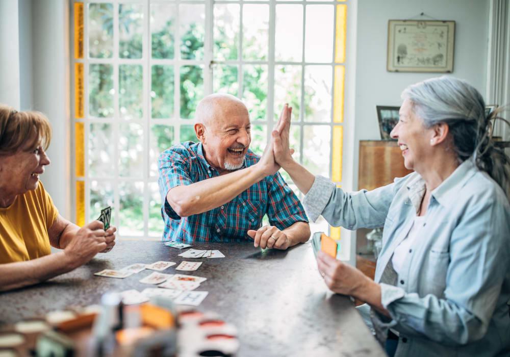 Residents playing a game at Kingston Bay Senior Living in Fresno, California.